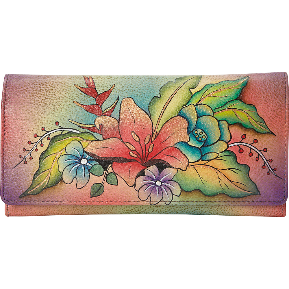 ANNA by Anuschka Hand Painted Multi Pocket Clutch Wallet Tropical Bouquet ANNA by Anuschka Women s Wallets