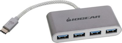 IOGEAR HUB-C - USB-C to 4-port USB-A Hub Silver - IOGEAR Travel Electronics