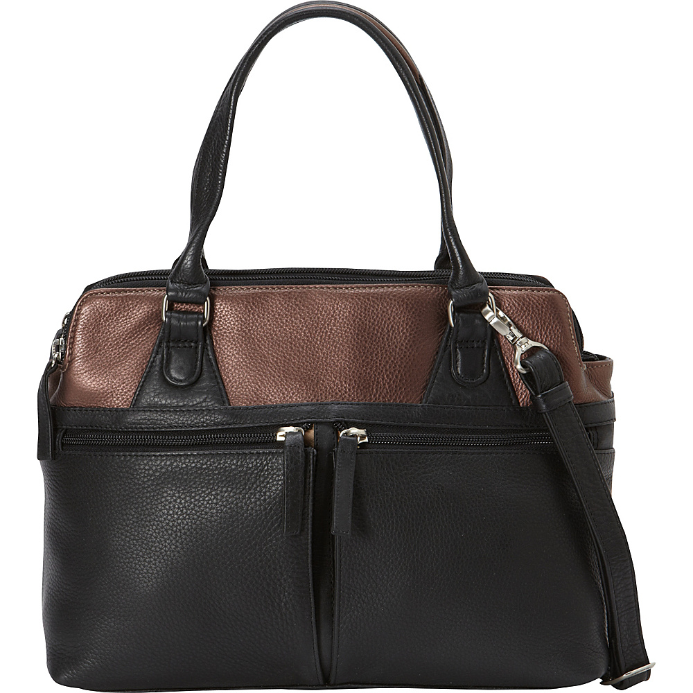 Derek Alexander Med EW 3 Comp Top Handle Tablet Friendly Black - Derek Alexander Leather Handbags - Handbags, Leather Handbags