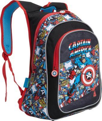 Marvel Captain America American Hero Backpack Black Comic Print - Marvel Everyday Backpacks