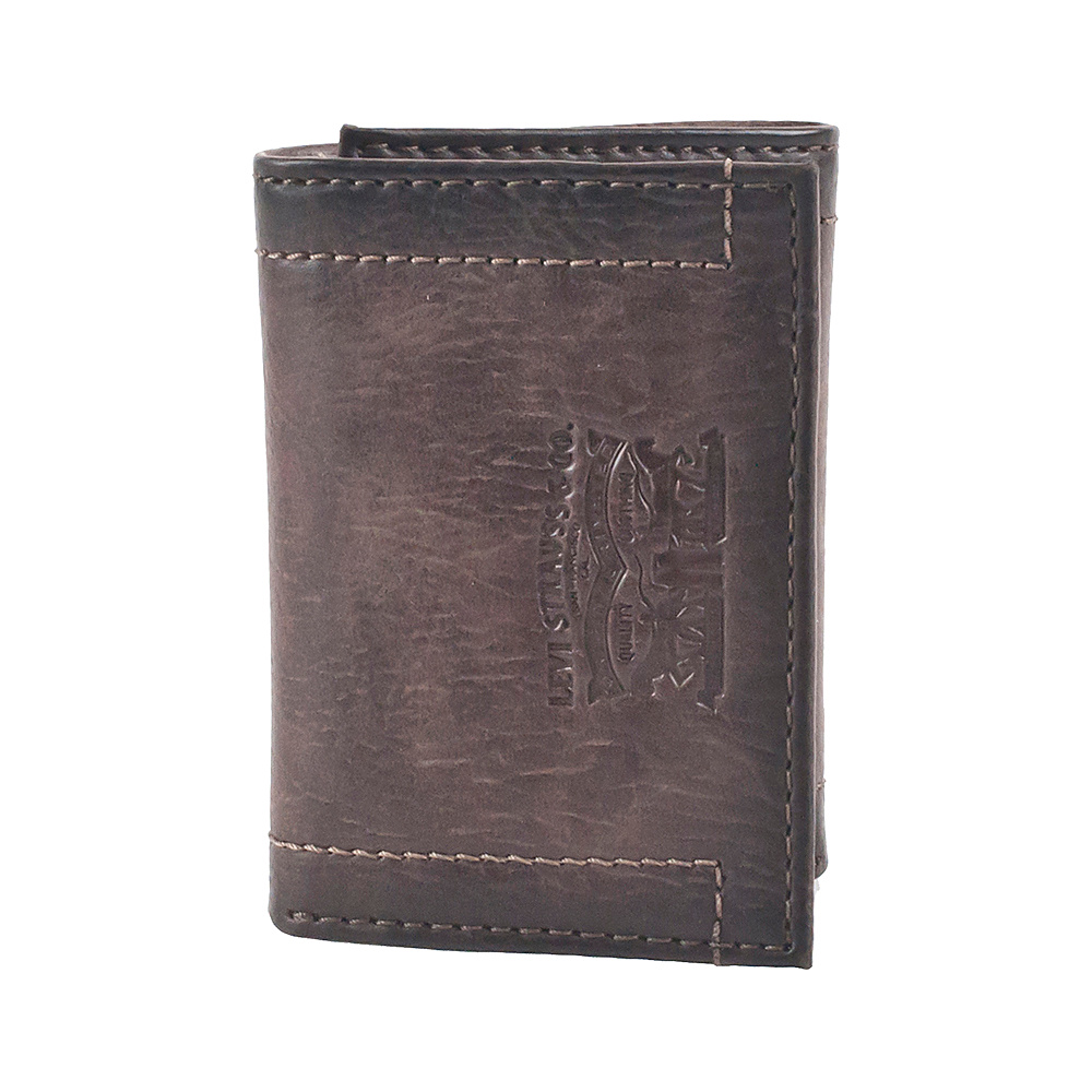 Levi s Trifold Wallet w Embossed logo BROWN Levi s Men s Wallets