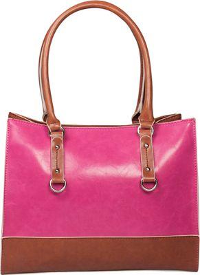 Emilie M Kimberley Two Tone Tote Pink/Cognac - Emilie M Manmade Handbags