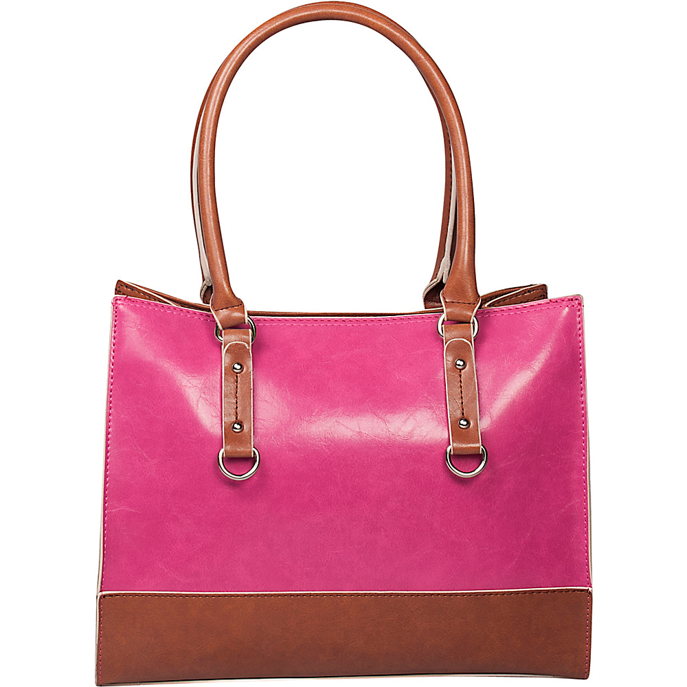 Emilie M Kimberley Two Tone Tote Pink Cognac Emilie M Manmade Handbags