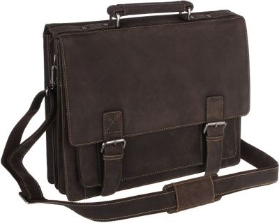 Visconti XL Business Briefcase Distressed Leather - Hercules Oil Brown - Visconti Non-Wheeled Business Cases