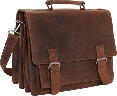Visconti XL Business Briefcase Distressed Leather - Hercules Oil Tan - Visconti Non-Wheeled Business Cases