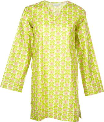 Needham Lane Mod Floral Tunic M - Lime - Needham Lane Women's Apparel