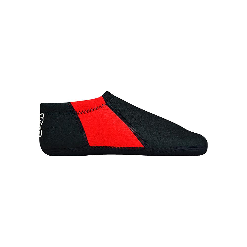 NuFoot Travel Slipper Booties Black Red Stripe Large NuFoot Men s Footwear