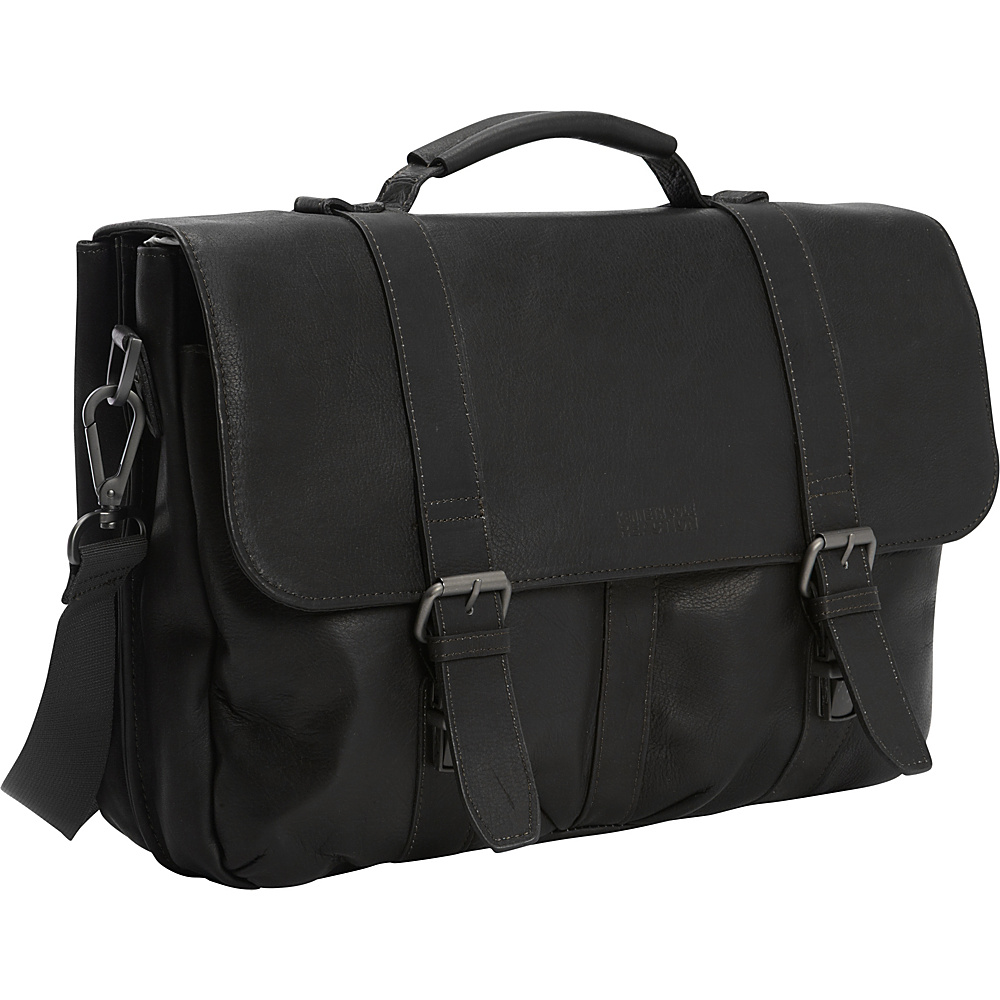 Kenneth Cole Reaction Flap Shot Leather Computer Portfolio Black Kenneth Cole Reaction Non Wheeled Business Cases