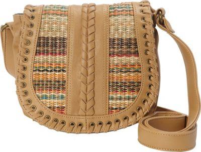 nu G Woven Saddle Bag Tan - nu G Manmade Handbags