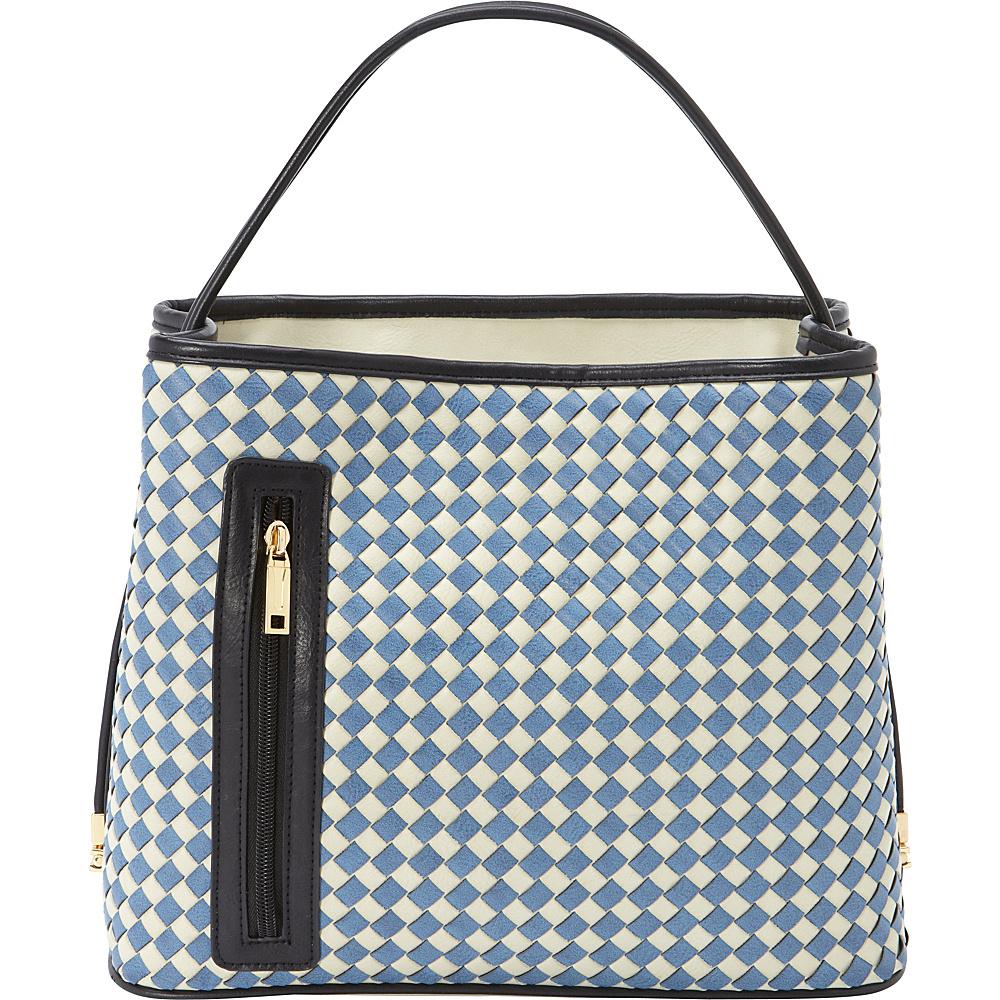 Samoe Tote Convertible Handbag Lt. Grey Sapphire Woven Black Handle TO Samoe Manmade Handbags