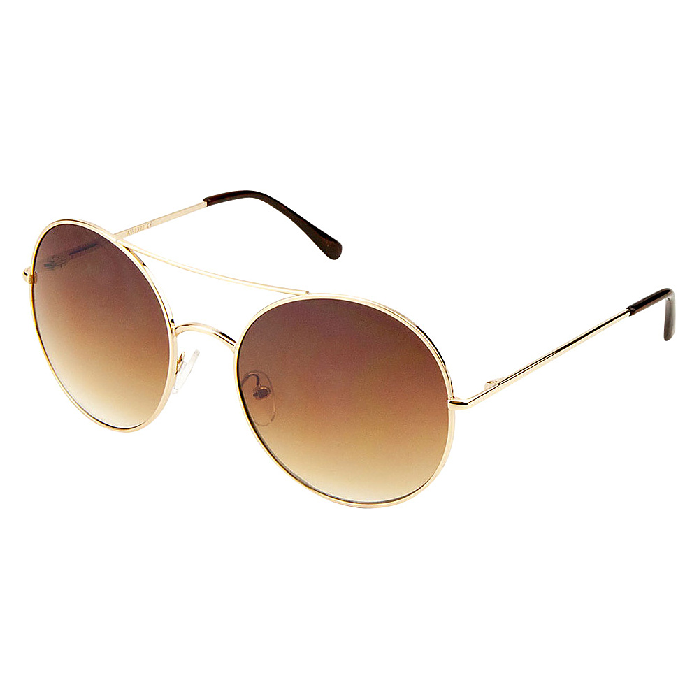 SW Global Eyewear Aria Double Bridge Round Fashion Sunglasses Gold - SW Global Sunglasses - Fashion Accessories, Sunglasses