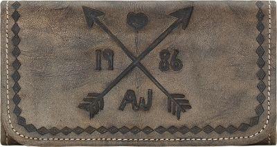 American West Cross My Heart Ladies Tri-Fold Clutch Wallet Distressed Charcoal - American West Women's Wallets