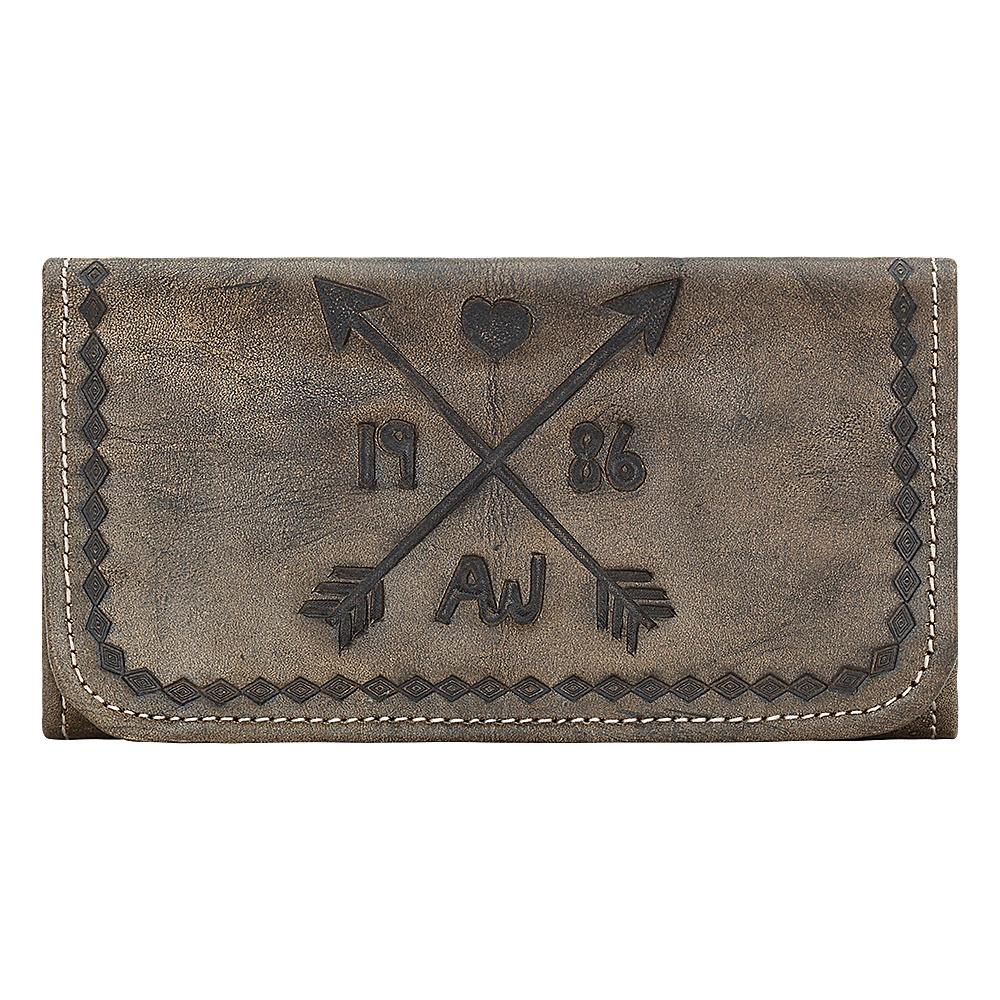 American West Cross My Heart Ladies Tri Fold Clutch Wallet Distressed Charcoal American West Women s Wallets