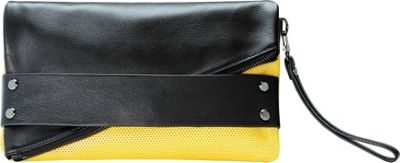 MOFE Trifecta Clutch Colorblock Yellow and Black - MOFE Leather Handbags