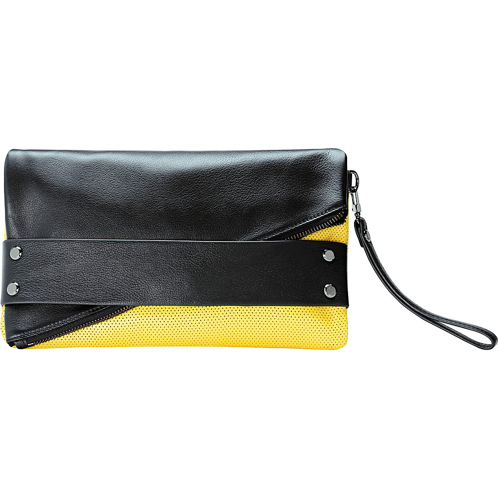 MOFE Trifecta Clutch Colorblock Yellow and Black MOFE Leather Handbags