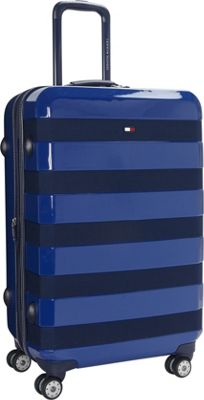 Tommy Hilfiger Luggage Rugby Stripe 24 Upright Hardside Spinner Royal - Tommy Hilfiger Luggage Hardside Checked