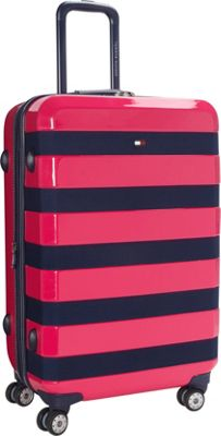 Tommy Hilfiger Luggage Rugby Stripe 24 Upright Hardside Spinner Pink - Tommy Hilfiger Luggage Hardside Checked