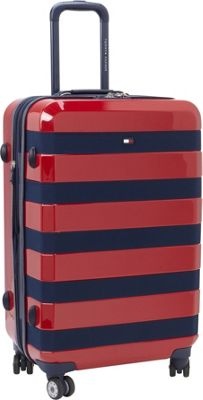 Tommy Hilfiger Luggage Rugby Stripe 24 Upright Hardside Spinner Red - Tommy Hilfiger Luggage Hardside Checked