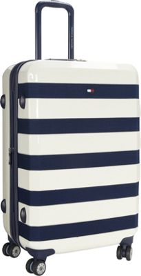 Tommy Hilfiger Luggage Rugby Stripe 24 Upright Hardside Spinner White - Tommy Hilfiger Luggage Hardside Checked