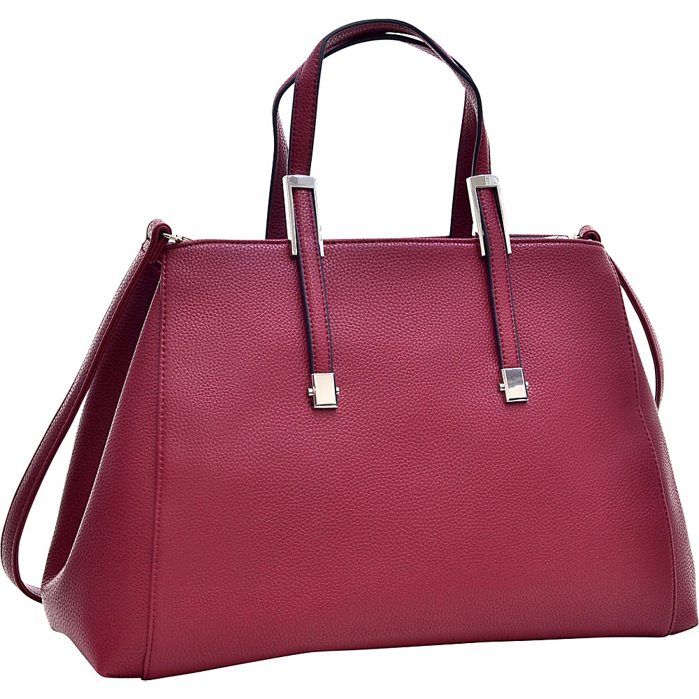 Dasein Faux Buffalo Classic Briefcase with Removable Shoulder Strap Burgundy Red - Dasein Manmade Handbags - Handbags, Manmade Handbags