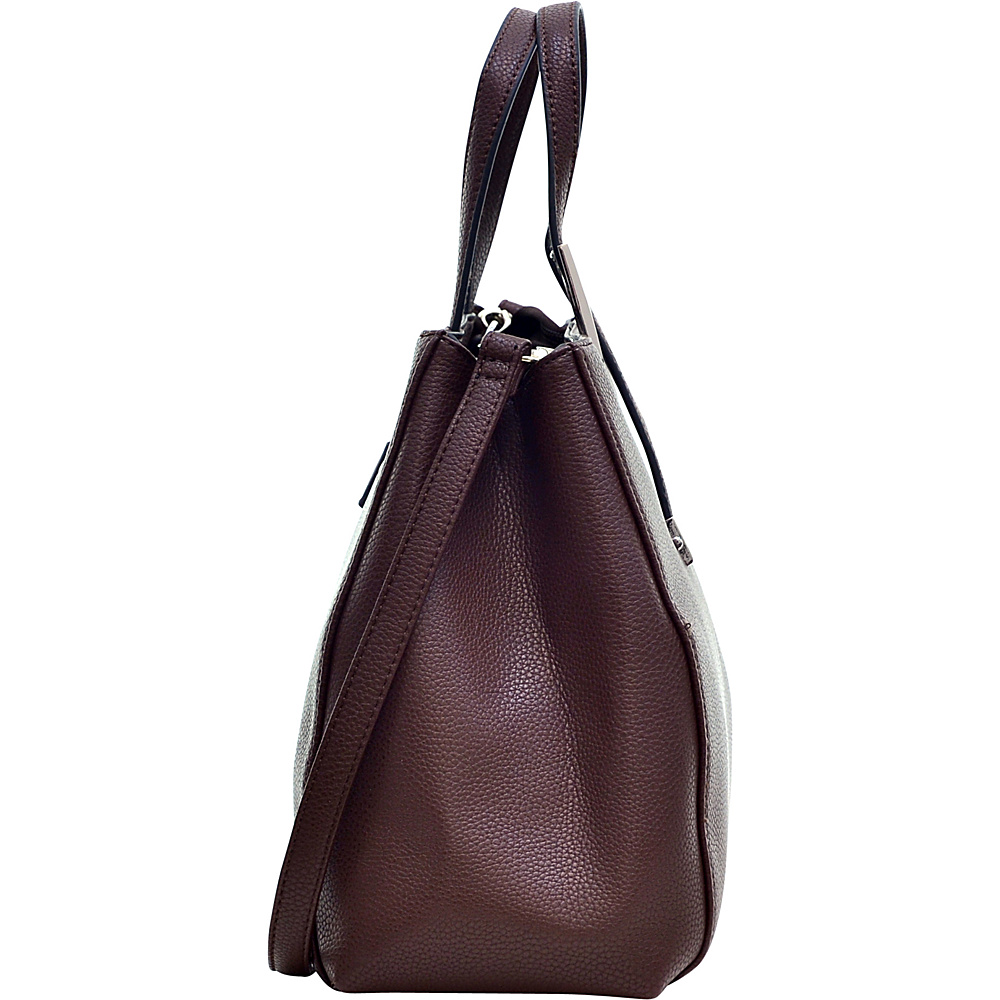Dasein Faux Buffalo Classic Briefcase with Removable Shoulder Strap Burgundy Red - Dasein Manmade Handbags