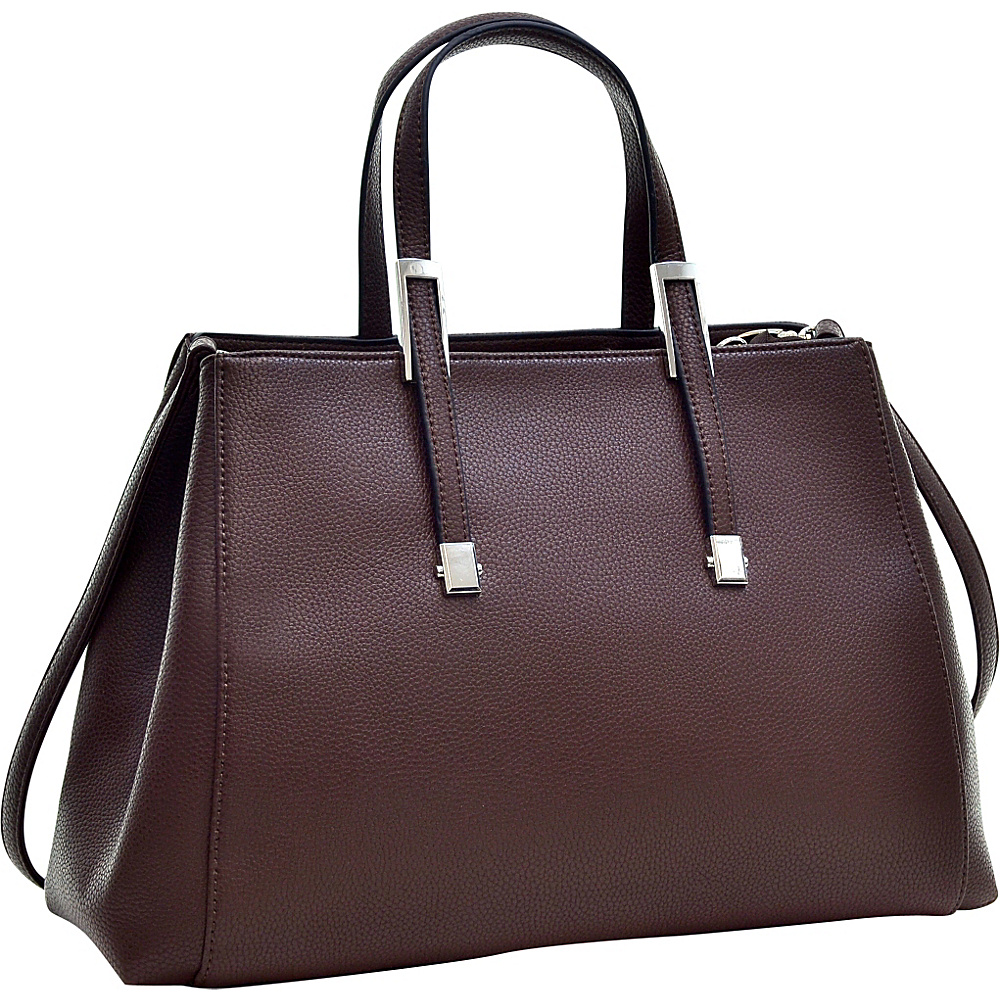 Dasein Faux Buffalo Classic Briefcase with Removable Shoulder Strap Coffee - Dasein Manmade Handbags