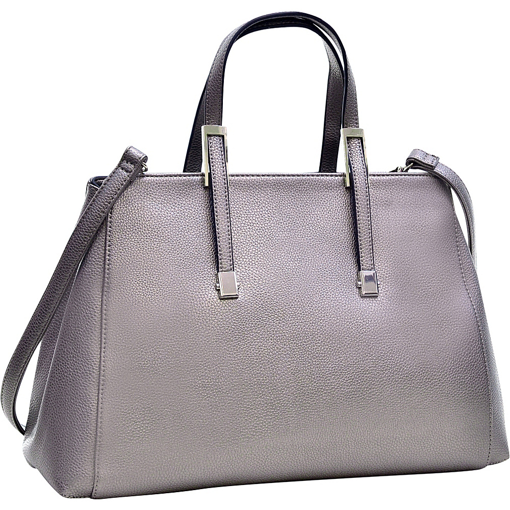 Dasein Faux Buffalo Classic Briefcase with Removable Shoulder Strap Silver - Dasein Manmade Handbags