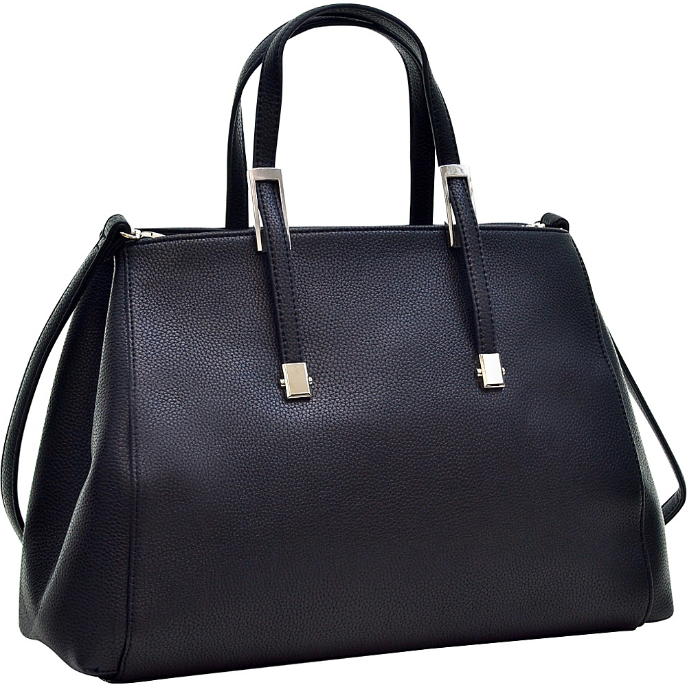 Dasein Faux Buffalo Classic Briefcase with Removable Shoulder Strap Black - Dasein Manmade Handbags
