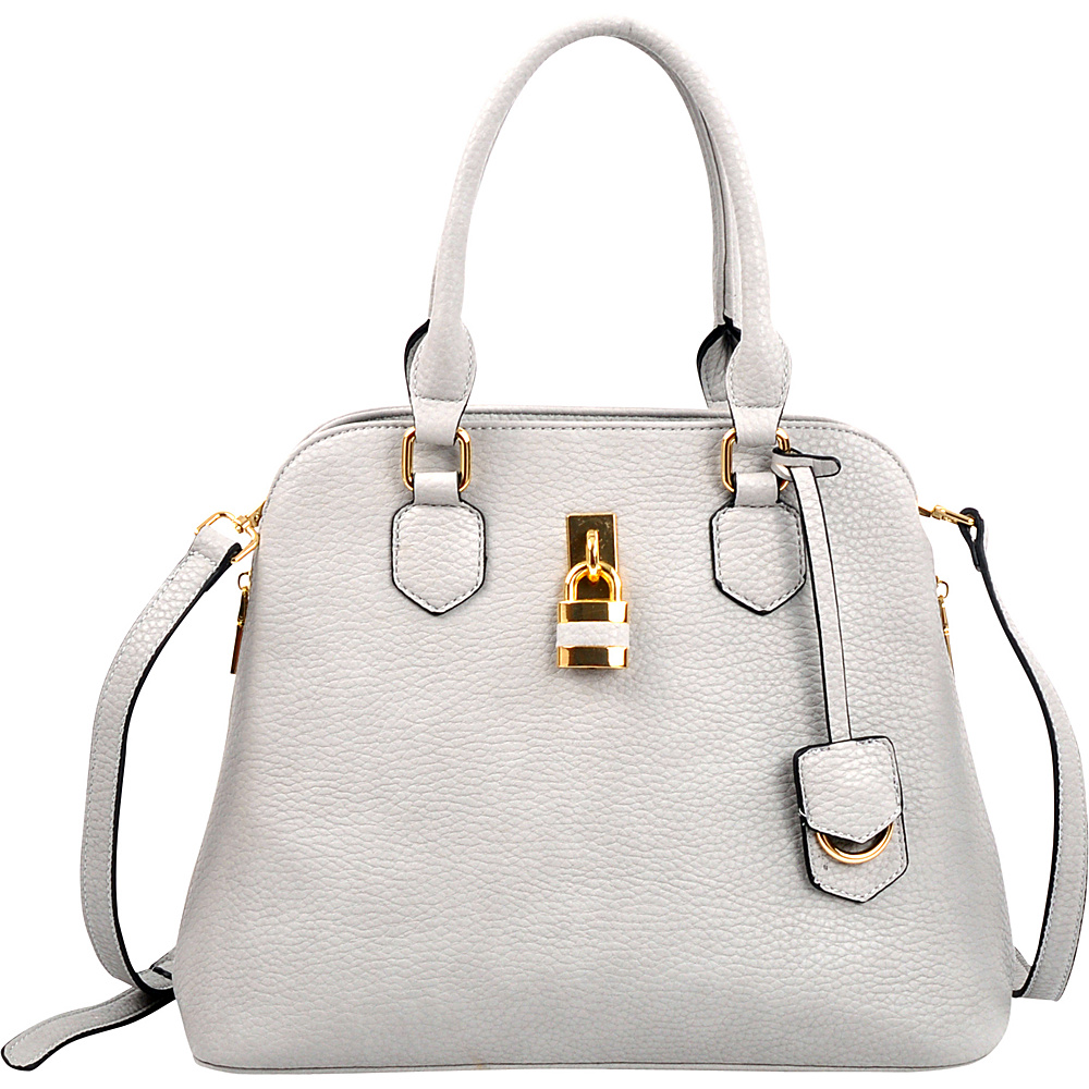 Dasein Round Padlock Zip Satchel with Shoulder Strap Grey - Dasein Manmade Handbags - Handbags, Manmade Handbags