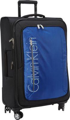 Calvin Klein Luggage Tremont 25 Upright Softside Spinner Blue - Calvin Klein Luggage Softside Checked