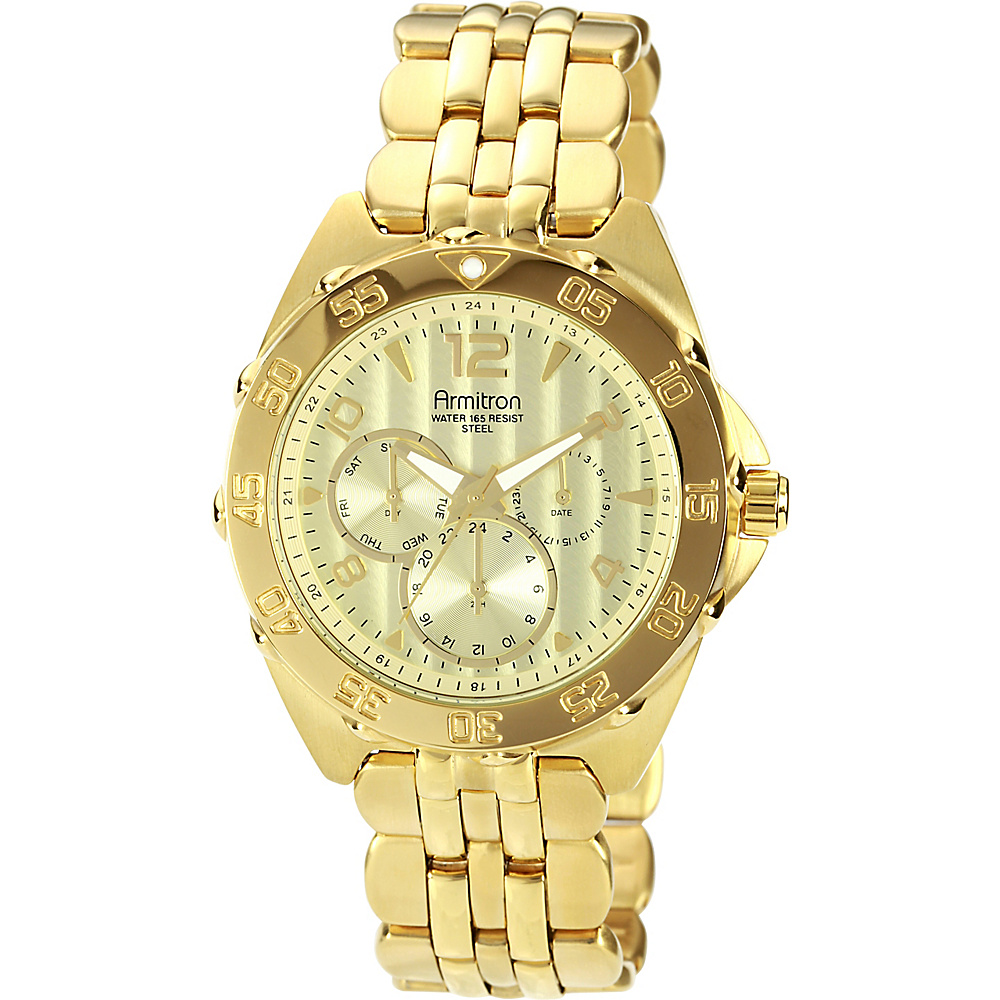 Armitron Mens Multi Function Dial Bracelet Watch Gold Armitron Watches