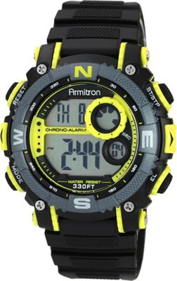 Armitron Sport Mens Digital Chronograph Resin Strap Watch Yellow - Armitron Watches