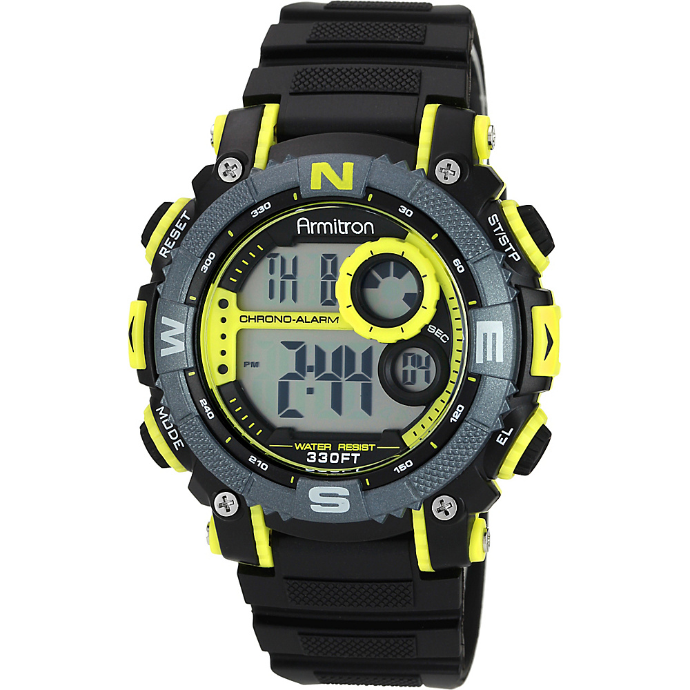 Armitron Sport Mens Digital Chronograph Resin Strap Watch Yellow Armitron Watches
