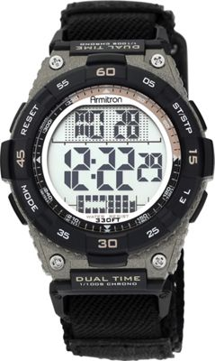 Armitron Sport Mens Brown Accented Digital Chronograph Black Nylon Strap Watch Black - Armitron Watches