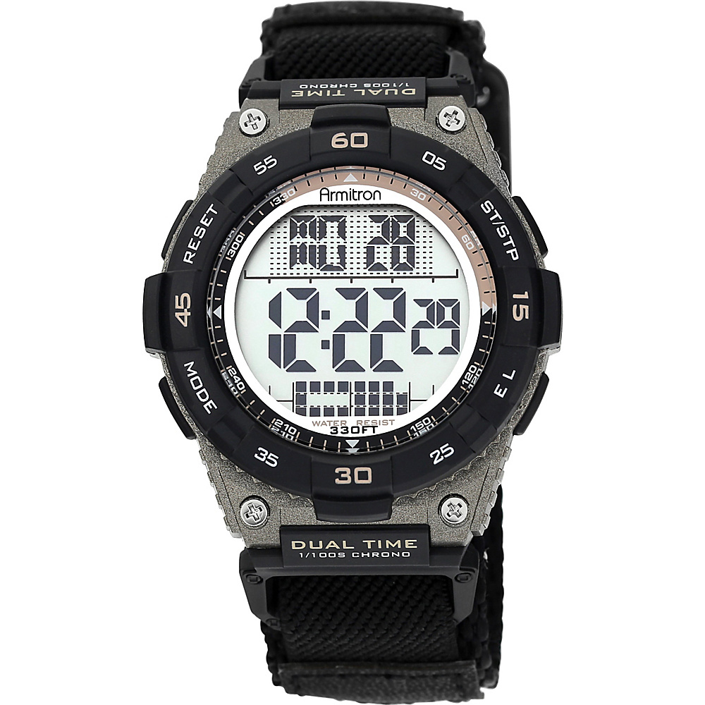 Armitron Sport Mens Brown Accented Digital Chronograph Black Nylon Strap Watch Black Armitron Watches