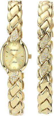 Armitron Womens Swarovski Crystal Accented Gold-Tone Bracelet and Watch Set Gold - Armitron Watches