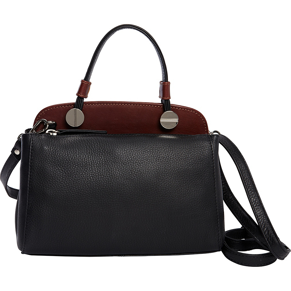 Derek Alexander Small Top Zip Shoulder bag Black/Whisky - Derek Alexander Leather Handbags - Handbags, Leather Handbags