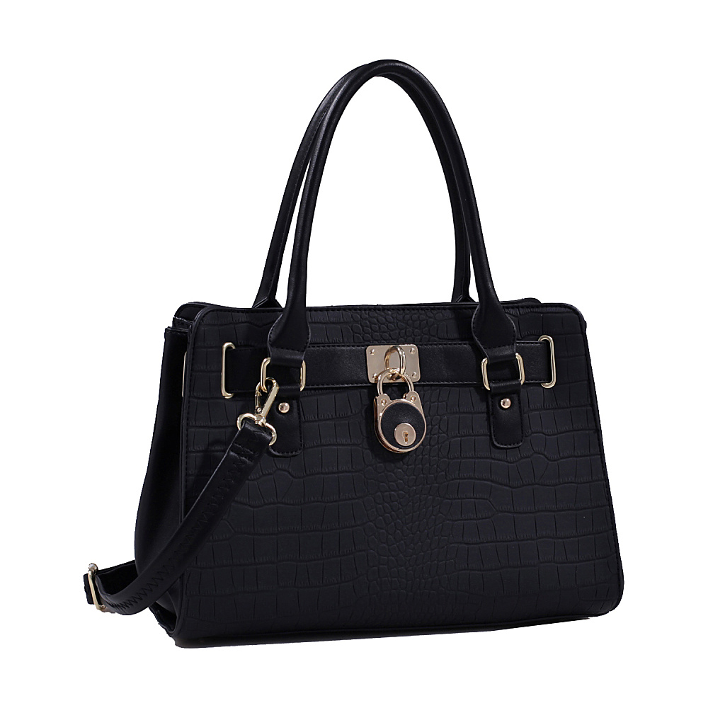 MKF Collection Sarah Padlock Satchel Black MKF Collection Manmade Handbags