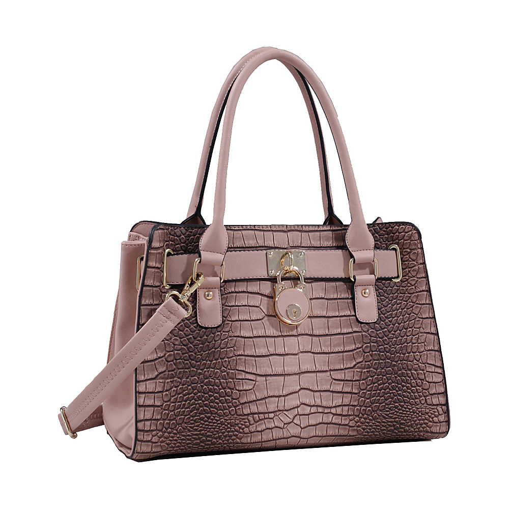 MKF Collection Sarah Padlock Satchel Taupe MKF Collection Manmade Handbags