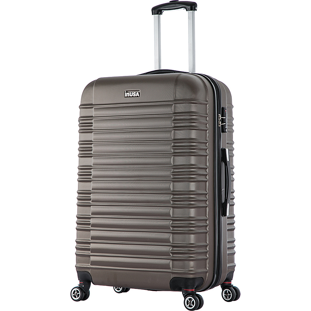 inUSA New York Collection 28 Lightweight Hardside Spinner Suitcase Brown inUSA Hardside Checked