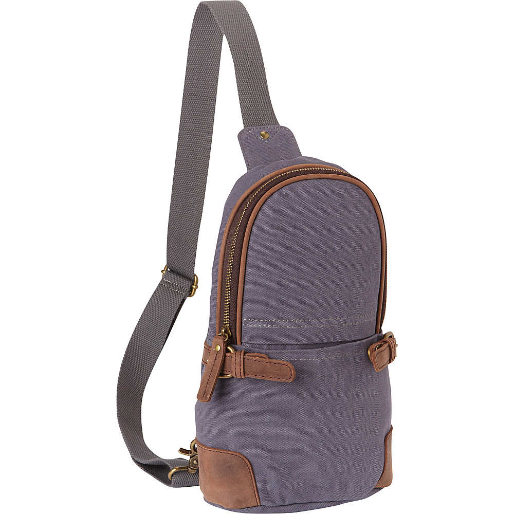 Vagabond Traveler Simple Canvas Chest Pack Blue Grey - Vagabond Traveler Waist Packs - Backpacks, Waist Packs