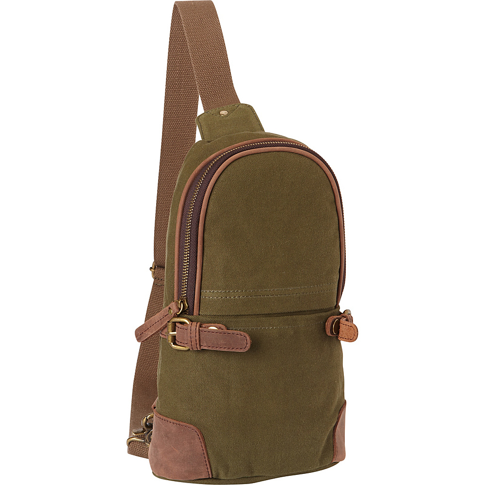 Vagabond Traveler Simple Canvas Chest Pack Green - Vagabond Traveler Waist Packs - Backpacks, Waist Packs