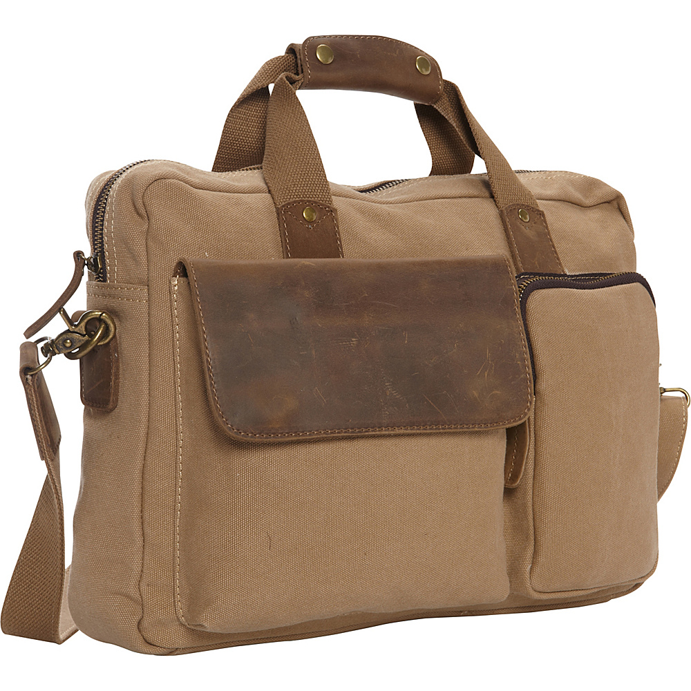 Vagabond Traveler Casual Style Canvas Laptop Messenger Bag Khaki - Vagabond Traveler Messenger Bags - Work Bags & Briefcases, Messenger Bags