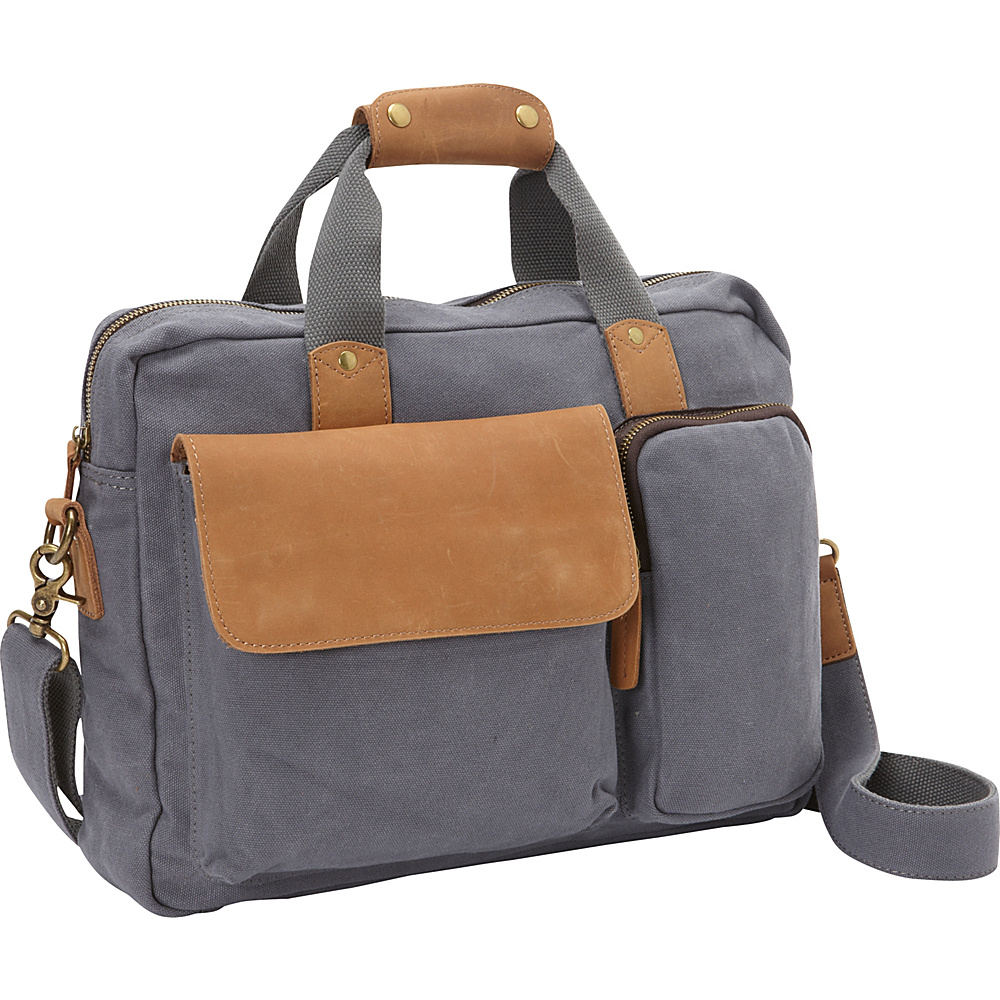 Vagabond Traveler Canvas 14 Laptop Messenger Bag- eBags Exclusive Blue Grey - Vagabond Traveler Messenger Bags - Work Bags & Briefcases, Messenger Bags