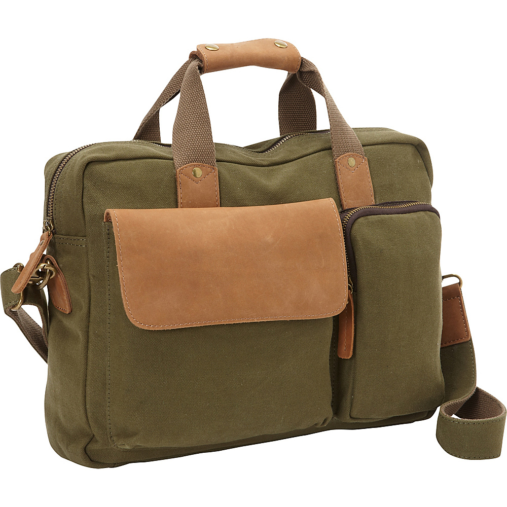 Vagabond Traveler Casual Style Canvas Laptop Messenger Bag Green - Vagabond Traveler Messenger Bags - Work Bags & Briefcases, Messenger Bags