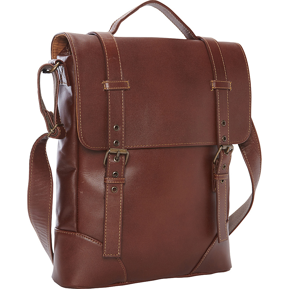Piel Deluxe Vertical Briefcase - Exclusive Brown - Piel Non-Wheeled Business Cases - Work Bags & Briefcases, Non-Wheeled Business Cases