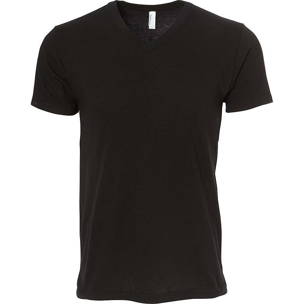 Simplex Apparel CVC Mens V Tee S - Black - Simplex Apparel Mens Apparel - Apparel & Footwear, Men's Apparel