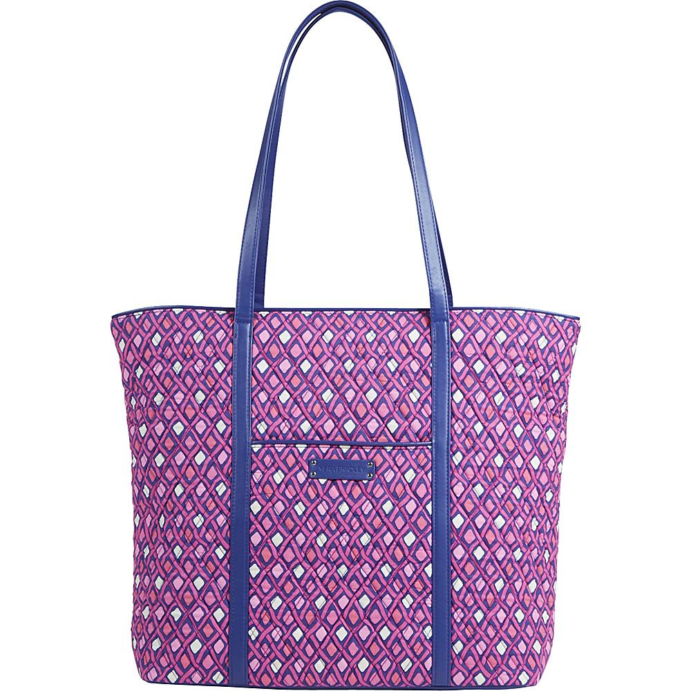 Vera Bradley Trimmed Vera- Retired Prints Katalina Pink Diamonds with Navy - Vera Bradley Fabric Handbags