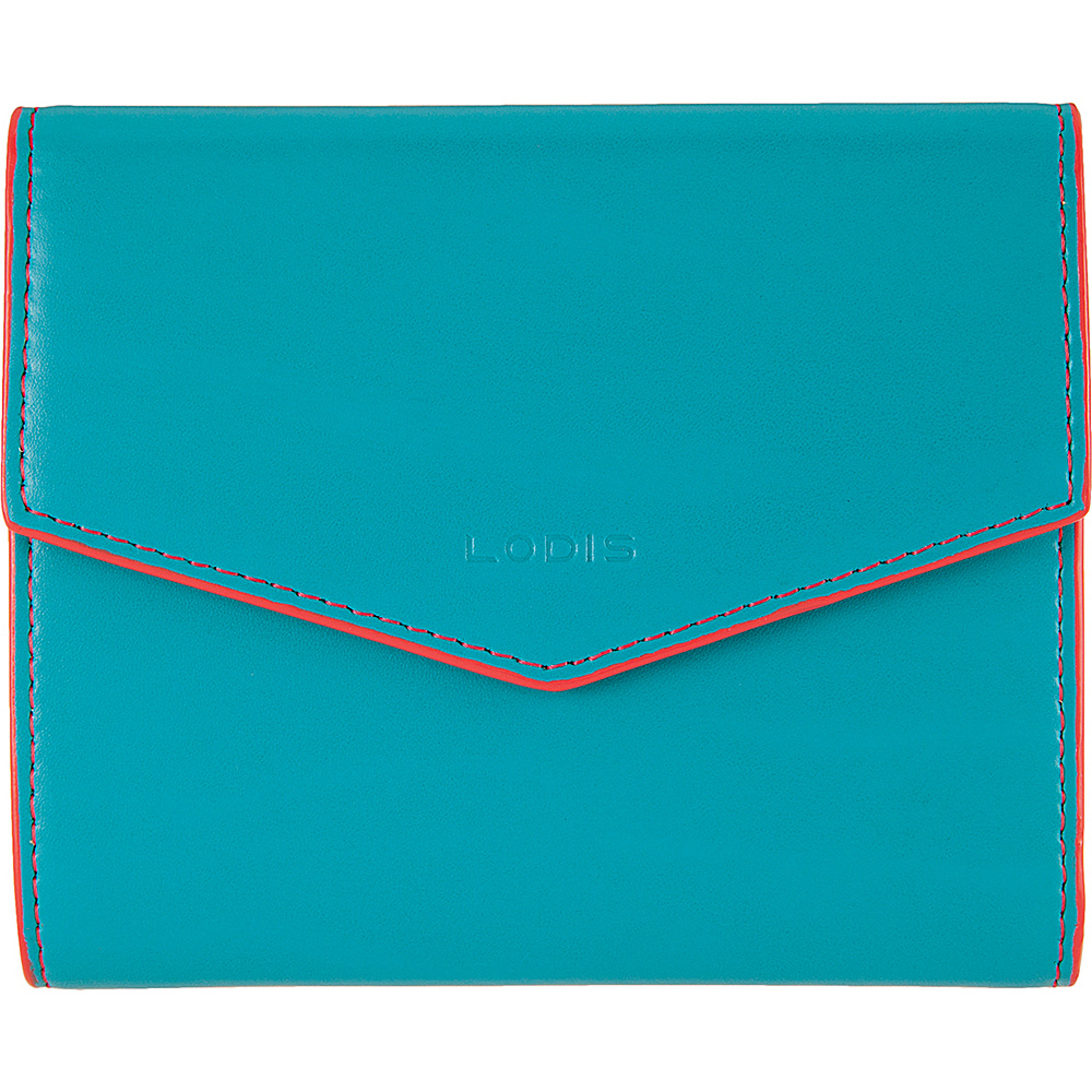Lodis Audrey Lana French Purse Turquoise/Coral - Lodis Womens Wallets - Women's SLG, Women's Wallets