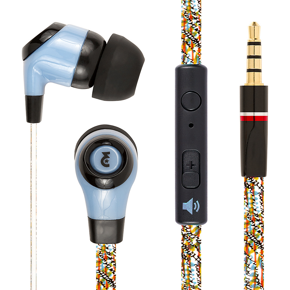 EMPIRE FLATZ 3.5mm Stereo Hands Free Headphones with Mic Blue Culture EMPIRE Headphones Speakers